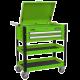 Heavy-Duty Mobile Tool & Parts Trolley 2 Drawers & Lockable Top - Hi-Viz