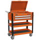 Heavy-Duty Mobile Tool & Parts Trolley 2 Drawers & Lockable Top - Orange